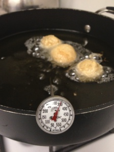 Doughnuts in oil at 350 degrees F