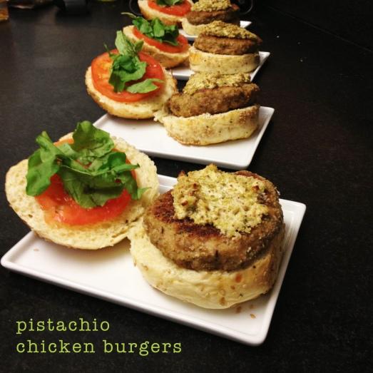 Pistachio Chicken Burgers