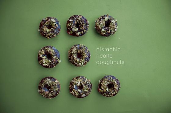 Pistachio ricotta doughnuts
